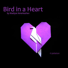 bird in a heart (polelena24) Tags: origami heart valentine bird onesheet square