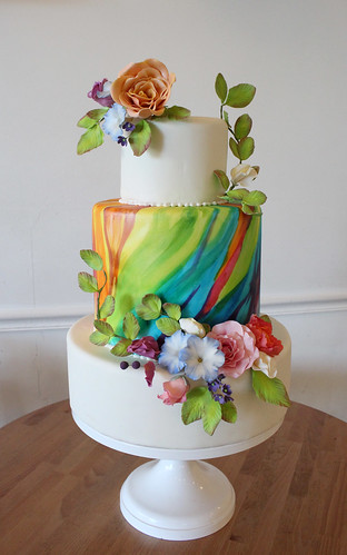 Painted Rainbow Wedding Cake