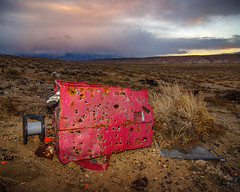 Holey Cart (dwblakey) Tags: desert targets bishop rust riflerange evening junk california trash owensvalley outside oddstuff easternsierra dump outdoors sky shooting rusty storm unitedstates us