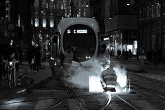 Lavori sulle rotaie del tram (Photox1965) Tags: atm lavoro milano operai sera tram