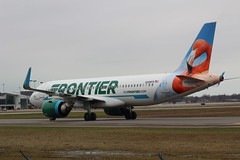 Frontier Airlines  Flo FlamingoA329NEO N308FR (sabresfreak) Tags: canonrebelt6 travel flying pilots engines winglets taxiway runaway plane jet planespotting buffaloniagaraairport n308fr a320neo airbus floflomingo frontierairlines