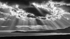 RIPPED AND TORN STORM AND LIGHT  By Angela Wilson (angelawilson2222) Tags: wild nature natural seascape clouds mountains isles islands sun weather rays sunrays scotland achiltubuie nikon angela wilson angelawilson mono black white bw blackwhite