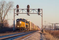 First Light at Longley (Nolan Majcher) Tags: csx csxt 3189 q241 pemberville sub longley oh ohio co chesapeake signals bridge signal ge gevo es44ac