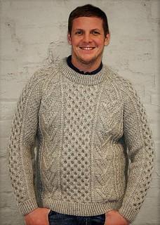 Husband in his fisherman aran wool jumper