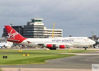 Virgin Atlantic B747-443 G-VROY taxiing at MAN/EGCC