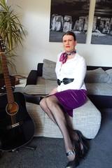 White and purple (Rikky_Satin) Tags: white blouse purple satin skirt highheels pumps pantyhose crossdresser transvestite tgirl gurl sissy secretary