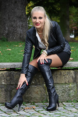 Anna 89 (The Booted Cat) Tags: sexy girl model milf long blonde hair blouse miniskirt jacket leather pantyhose heels highheels boots legs