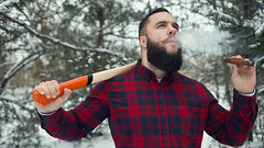 Bearded man with axe (n_lev44) Tags: ifttt 500px forest portrait winter cold nature north man style snow alone smoking serious caucasian looking forester hold guy shirt cigar equipment rural outdoors beard jeans work casual strength brutal stylish axe mustache macho job cutter professional lumberjack tough hipster woodsman wintertime