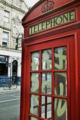 Homerton High Street (I M Roberts) Tags: redtelephonebox tagging graffiti urbansetting homertonhighstreet lowerclapton hackney e5 eastlondon fujix100s