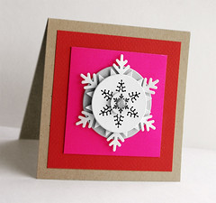 snowflake card (minttint) Tags: xmas holidays noel handmadecard pink red glitter neon christmas