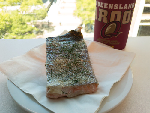 Tuesday lunch. Leftover crispy skin salmon with some dill garnish