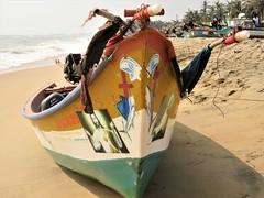 Mamallapuram, Tamil Nadu - Christian Boat on Devaneri Beach (zorro1945) Tags: mamallapuram mahabalipuram tamilnadu india asia asie southindia devaneribeach fishingboat boat christiansymbols christianity jesuschrist jesussaves bayofbengal