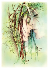 An Encounter at the Edge of the Forest (AnnaHannahArt) Tags: print love angels forest trees landscape drawing magical pair woman man kiss erotic valentine romance wedding romantic spiritual marriage