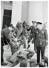 Vets arrested during sit-in at Supreme Court: 1971 (washington_area_spark) Tags: vietnam veterans against war vvaw protest demonstration rally march anti indochina encampment national mall washington dc 1971 medals ribbons military ex servicemen civil disobedience supreme court us