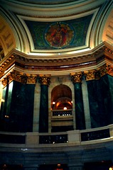 Wisconsin State Capitol - Rotunda  - Madison Wisconsin (Onasill ~ Bill Badzo) Tags: wisconsin ws state capitol madison city downtown nrhp historic building supreme court restaurant cafe architecture style beaux arts attraction site tours guided onasill interior dome colours chambers senate house old vintage sa unitedstates rotunda people geometric murals photo