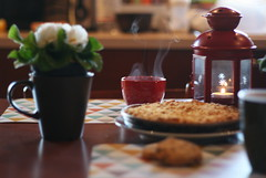 Breakfast (Shahrazad_84) Tags: home breakfast mug flowers winter cosy lantern candle
