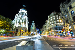Night in Madrid (Giuseppe Cammino) Tags: calledealcala europe granvia madrid metropolis architecture avenue calle city cityscape district landmark light night road skyline spain street trails transportation comunidaddemadrid es