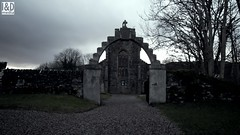 Kilmartin Parish Church eerie entrance by moonlight