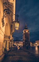 Blue hour (Vagelis Pikoulas) Tags: krakow poland travel clock architecture november autumn 2017 square light lights tokina 1628mm view landscape urban city cityscape canon 6d