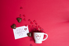Delicious chocolate candies and cup on red background (lyule4ik) Tags: heart chocolate day sweet valentine love decoration holiday romantic shape symbol background gift joy red calendar candy sugar cocoa delicious dessert fat food cup romance tasty affection artistic bokeh bottle bride card celebration composition concept confetti creative design effect family filter glass green happy life present retro rose shaped