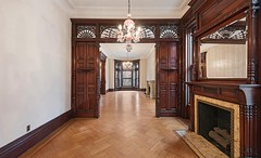 Brooklyn 8th Avenue brownstone interior ornate Victorian partition woodwork (techpro12) Tags: parkslope newyork historic brownstone victorian room interior old fireplace mantel woodwork ornate antique partition mirror