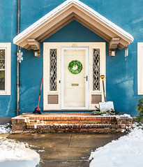 Digging Out_DSC00208.jpg (tahcreative) Tags: outdoor connecticut winter newengland snow house building architecture blue door christmas holiday wreath botanical 2017 nature