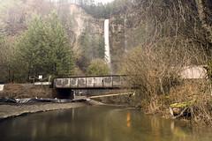 Multnomah Falls (Curtis Gregory Perry) Tags: multnomah falls oregon creek bridge railroad water reflection winter long exposure northwest waterfall river stream nikon d810 train union pacific