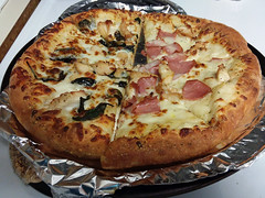 Reheated Pizza. (dccradio) Tags: lumberton nc northcarolina robesoncounty samsung galaxy smj727v j7v cellphone cellphonepicture monday afternoon inside indoors pizza leftover leftovers pizzapie round circle foil stovetop reheated reheat food eat dominos crust lunch dinner supper snack