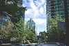 Glass and trees - Glas und Bäume (hannesvogel) Tags: vsco kanadareise baum farbe pflanze himmel grün wolkig reisen wolkenkratzer gebäude skyline bauwerk travel building cloudy skyscraper vancouver britishcolumbia kanada ca livingincanada