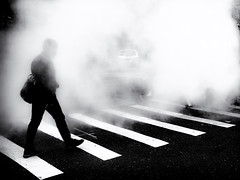Obscurity (Feldore) Tags: abstract 18 17mm mysterious mystery stripes olympus em1 mchugh feldore obscured man manhattan steam smoke lines crossing street newyork