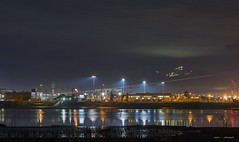Getting Out Of Town (Clayton Perry Photoworks) Tags: vancouver bc canada winter explorebc explorecanada night lights richmond yvr airport seaisland reflections airplane stream light