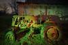 Green-Red Tractor (Notley Hawkins) Tags: httpwwwnotleyhawkinscom notleyhawkinsphotography notley notleyhawkins 10thavenue lightpainting trees fall outdoors 2017 november night nocturne evening light bucolic ruralfarm missouri farm missouriphotography ruralphotography midwest ruralusa bluelight 光绘 光繪 lichtmalerei pinturadeluz ライトペインティング प्रकाशपेंटिंग barn tractor shadows