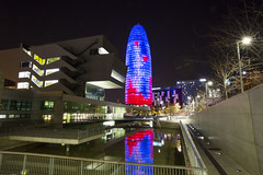 Torre Agbar in Barcelona (CityToursBarcelona) Tags: torreagbar barcelona architecture agbar arquitectura nouvel jean arkitektur catalonia catalunya katalonien glories light night photo nightphoto water