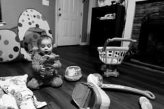 Night owl (kaylea.viadero) Tags: toys night baby toddler no sleep crazy black white blackandwhite girl pajamas mess room living 365 365project exposure emotion georgia light lifestyle lastminute lazy