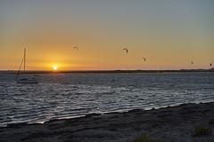 Yacht + Kite Surfers (Stueyman) Tags: sony ilce alpha za zeiss 55mm wa westernaustralia australia warnbro rockingham perth sea ocean indianocean safetybay sky sunset goldenhour