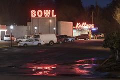 Kellogg Bowl (Curtis Gregory Perry) Tags: milwaukie oregon neon bowling bowl kellogg parking lot puddle light reflection night long exposure sign car nikon d810