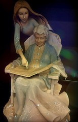 Take out time for your elders. (zairakhan) Tags: sculptures statues grandma granddaughter desertbooksslc