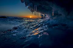 Fire and ice (Samuli Koukku) Tags: lauttasaari helsinki finland balticsea north weather ice sea blue landscape seascape nature february canon 2470 1dx2 sunset winter art artistic