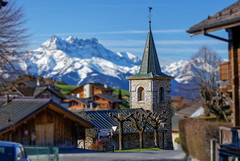 Chapel in Leysin, Switzerland (cantdoworse) Tags: leysin church with les dents du midi land switzerland mountains snow europe lands canon 6d