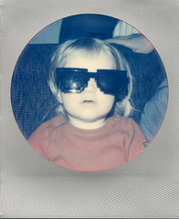 The Future's so Bright (Magnus Bergström) Tags: polaroid 680 slr polaroid680slr analog instant film 600 foldable impossible impossibleproject project round silver frame edition color christmas ekshärad wermland värmland sweden family children hole child toy portrait majber00 sunglasses minecraft