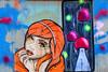 El Bocho and ? or Summertime in Hamburg (Marco Braun) Tags: streetart graffiti schwarz colourful coloured farbig bunt couleures face gesicht opart 2015 walart urbanart elbocho schablone pochoire stencil berlin frau femme women black white weiss blanche noire orange deutschlandgermanyallemagne