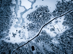 Cutting through Ice (Fabian Fortmann) Tags: drone dji mavic bavaria bayern drohne hintersee berchtesgaden birdseye view winter snow schnee street road ice eis see lake frozen gefroren germany deutschland