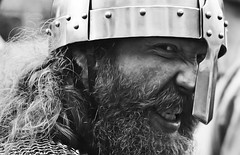 Viking rage (BWSforever) Tags: vikingfestival2017 peopleportrait man male head armour history warrior fighter anger agitation face closeup hair blackandwhite mono monochrome beard helmet