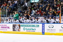 """Kansas City Mavericks vs. Florida Everblades, February 18, 2018, Silverstein Eye Centers Arena, Independence, Missouri.  Photo: © John Howe / Howe Creative Photography, all rights reserved 2018 • <a style=""""font-size:0.8em;"""" href=""""http://www.flickr.com/photos/134016632@N02/40387907231/"""" target=""""_blank"""">View on Flickr</a>"""