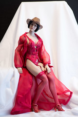 Leave Your Hat On, Part Two (edwicks_toybox) Tags: 16scale hotplus tbleague brunette corselet fedora femaleactionfigure flirtygirl hat highheels kimitoys lingerie phicen seamlessbody stockings thong