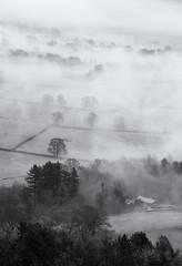 Vale of Edale (l4ts) Tags: landscape derbyshire peakdistrict darkpeak edale grindslowknoll farmland trees fog mist grindsbrookbooth blackwhite monochrome