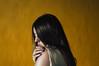 Caricias misteriosas (Kathy Chareun) Tags: challenge reto color colour yellow amarillo hair pelo hand mano wall pared negro face cara woman mujer femme girl chica autorretrato autoretrato selfportrait skin piel shadow sombra dress vestido araña spider 35mm ps photoshop lr lightroom