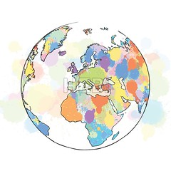 Colorful map with focus on europe globe (Hebstreits) Tags: abstract africa america art asia atlas australia background blue business cartography color colorful concept continent countries country design earth element europe geography global globe graphic green icon illustration international isolated land map modern national north ocean oceania pattern planet round shape sign south sphere symbol travel usa vector white world