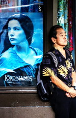 Lord of the Rings (klauslang99) Tags: streetphotography klauslang oahu chinatown hawaii person poster film