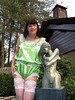 Feminine figures (Paula Satijn) Tags: sexy hot sensual girl gurl tgirl satin silk silky shiny green teddy playsuit white lace tranny transvestite tv sissy cute sweet adorable garden statue sculpture bronze smile happy joy girly feminine lingerie